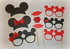 Cabina roja de la foto de minnie mouse accesorios orejas