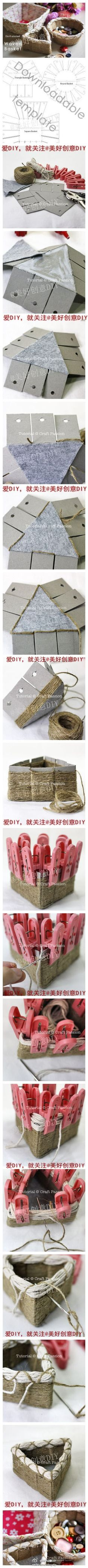 "DIY ""Woven"" Baskets TUTORIAL recycled cardboard, twine"