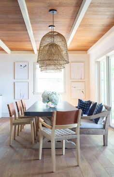 Attrayant Woven Bell Shaped Chandeliers + Bench Dining + Wood Ceiling With White  Painted Beams |