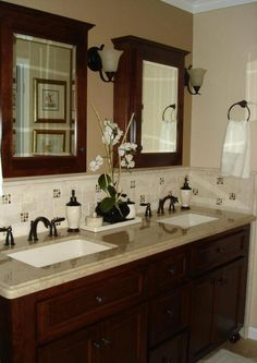 Perfect for guest bathroom upstairs...bronze faucets, dark wood and tan granite counter top...everything matches perfectly!