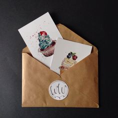 A personal favorite from my Etsy shop https://www.etsy.com/listing/271455222/cupcake-postcards-postcrossing-original