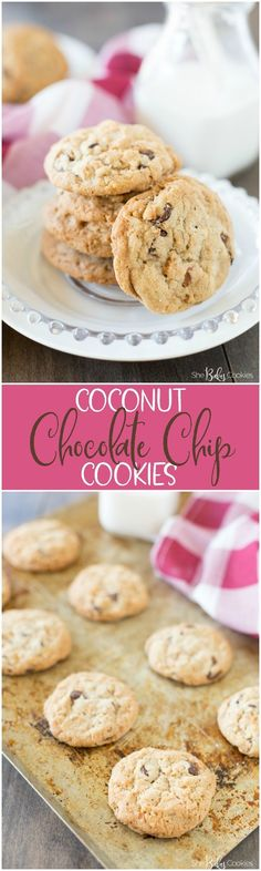 coconut chocolate chip cookies stacked on a white plate and a second picture with the cookies on a baking sheet cooling. Delicious Cookie Recipes, Easy Cookie Recipes, Baking Recipes, Dessert Recipes, Quick Dessert, Cheap Recipes, Cupcake Recipes, Easy Desserts, Delicious Food