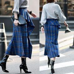 スカート チェックパターン★ラッフルチェックスカート G365(3)