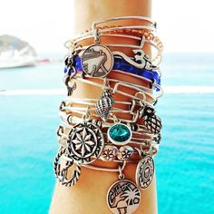 Alex and Ani Charmed Arms! Beaded bangles and seaside charms!