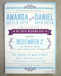 Check these out... I like the program idea that shows the names of the wedding party, etc... So excited to paln!!  Playbill Modern Wedding Invitation Suite SAMPLE by onelittlem, $6.00
