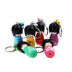 Kokeshi Doll Keychain, Japanese Keychain, Kokeshi Party Favor, Kokeshi | Japanese Style, Inc.