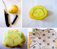Cute shirt...and you can make it with a potato! Must try this. From takeonlymemories.com