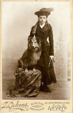 Belgian Tervuren Shepherd Dog and Pretty Girl in Mink Stole, Antique Victorian Photo For Sale by Anemone Antiques on Ruby Lane Me And My Dog, Photos With Dog, Dog Pictures, Go Dog Go, Victorian Photos, Vintage Photos, Victorian Life, Antique Photos, Carte De Visite