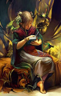 knowledge_and_wisdom_by_Chen Wei_567_889.  Knowledge lies in the book, wisdom lies in her for seeking knowledge so young.