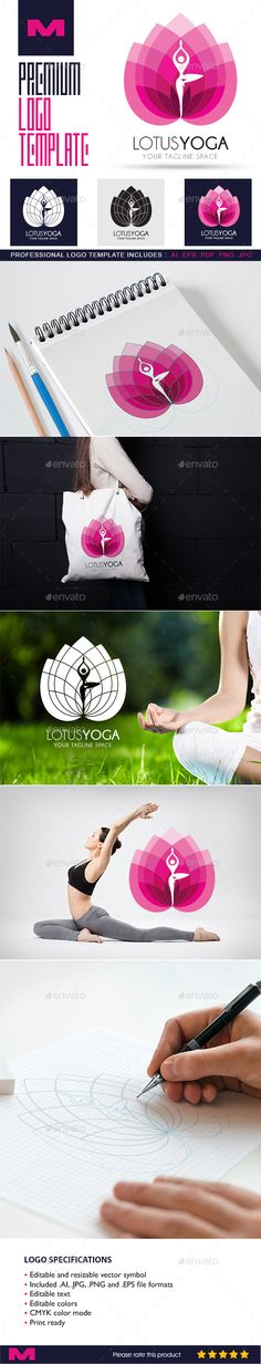 Lotus Yoga Design Template - Logo Template for Beauty, Wellness & Spa Business - Humans Logo Templates Design Template AI Illustrator. Download here: https://graphicriver.net/item/lotus-yoga-logo-template-for-beauty-wellness-spa-business/19177530?ref=yinkira