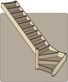 Quarter Turn Staircases - Produced flat pack by Rapid Stair Kits of Hull Loft Staircase, Attic Stairs, Basement Stairs, House Stairs, Stair Railing, Steep Staircase, Small Staircase, Staircase Ideas, Railings