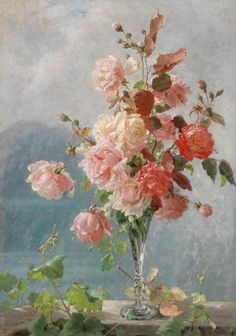 Rose flowering spring landscape oil Painting picture By Numbers Drawing coloring by numbers DIY drawing living room decoration Renaissance Kunst, Renaissance Paintings, Art Floral, Arte Van Gogh, Oil Painting Pictures, Images Esthétiques, Red And Pink Roses, Classical Art, Aesthetic Art