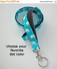 Sale - Lanyard  ID Badge Holder - Lobster clasp and key ring - design your own white elephants turquoise - black pin dots - two toned double