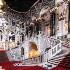 Photo by Andrey Mikhailov- Saint-Petersburg, Russia. Photo by Andrey Mikhailov Saint-Petersburg, Russia. Photo by Andrey Mikhailov - Architecture Baroque, Classical Architecture, Ancient Architecture, Beautiful Architecture, Interior Architecture, Grand Staircase, Staircase Design, Beautiful Castles, Beautiful Buildings
