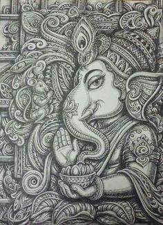 Ganesha design art with pen on paper / By : sukhdev Bhanderi Ahmedabad , india Ganesha Drawing, Lord Ganesha Paintings, Ganesha Art, Krishna Art, Ganesha Sketch, Doodle Art Drawing, Mandala Drawing, Art Drawings Sketches, Duck Drawing