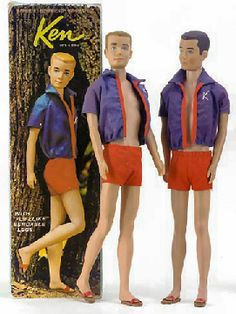 Vintage Bendable Leg Ken Doll    Model #: 750  Issue Date: 1965  Box Date: 1964  Hair Colors: Blonde or Brunette  Face: Turquoise eyes, brown eyebrows, peach lips  Clothing: Navy Blue & Red Jacket with White K  Red Swim Trunks  Red Cork Sandals  Stand: Black or Gold Wire Stand  Body Markings:     ©1960  by  Mattel Inc.  Hawthorn  Calif. U.S.A.