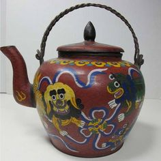 CHINESE Enamel CLOISONNE TEAPOT with Copper Twist Wire Handles  Lions Dogs Dragn