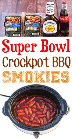 Super Bowl Party Food Appetizers Crock Pot! Tailgating meat ideas for potlucks like slow cooker BBQ smokies are great for a crowd! Super Bowl Party, Game Day Appetizers, Appetizer Recipes, Simple Appetizers, Seafood Appetizers, Cheese Appetizers, Christmas Appetizers, Christmas Recipes, Thanksgiving Recipes