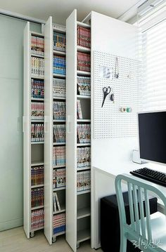 Smart Hidden Storage Ideas For Small Spaces This Year – Home Office Design Diy Craft Room Storage, Diy Storage, Book Storage, Storage Shelves, Closet Storage, Kitchen Storage, Storage Area, Closet Shelves, Smart Storage