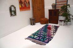 Antique Tribal Azilal Rug Azilal, Boucherouite 3x7 Vintage Moroccan Rug, Wool Beni Ourain Carpet, Modern Design , Boucherouites rug