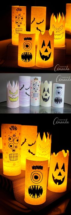 Paper Halloween Luminaries!! By day they are colorful shelf or window decorations, but by night they are spooky paper Halloween luminaries! Easy to make and fun to look at!
