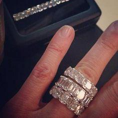 Emerald cut, Cushion cut, and square emerald cut diamond wedding bands