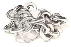chain drawing - Google Search Love Bracelets, Metal Chain, Black Art, All Art, Drawings, Drawing Faces, Illustration Art, Sculpture, Gcse Art