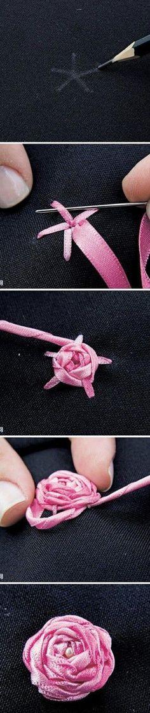 broderie au ruban, créer de petites fleurs avec un ruban rose