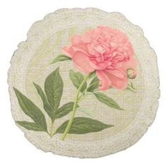 Pink peony & lace floral vintage pillow round pillow