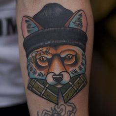 Gangster Fox Head Tattoo - Mike Stockings http://bestanimaltattoos.com/gangster-fox-head-tattoo-mike-stockings/