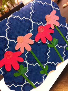 Four pink flowers - card on Etsy, $3.25