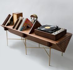 Audio rooms turntable We Adore This Turntable Stand by Detroit-Based Design House Sitskie - Bryantlongworth - Diy Furniture Renovation, Diy Furniture Cheap, Diy Furniture Hacks, Retro Furniture, Furniture Design, Furniture Legs, Barbie Furniture, Garden Furniture, Office Furniture