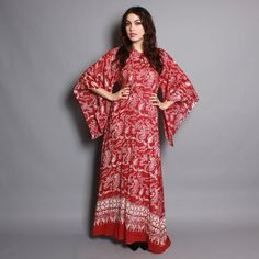 70s CAFTAN DRESS / Batik DRAGON Print by luckyvintageseattle, $145.00