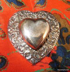 "Sterling Silver Pendant or Brooch Heart Locket 2 Photo 1 3/4"" Diameter 14g"