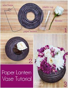 DIY Paper Lantern Vase Centerpiece | Find paper lanterns in assorted sizes and colors here: http://myweddingreceptionideas.com/paper_lanterns_decorations.asp