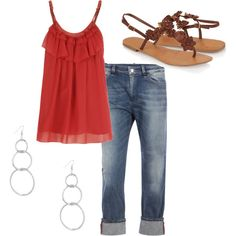 Simple and cute, looks comfy too. Red cami, cuff capris, rosette sandals, simple dangle earrings.