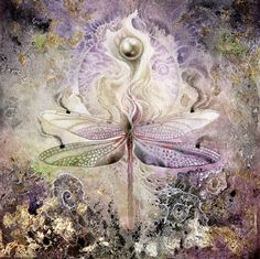 Stephanie Law - watercolor painter, botanical illustrator and artist of fantastical dreamworld imagery. Dragonfly into Calla Lilly with a pearl! Dragonfly Art, Beautiful Bugs, Insect Art, Fairy Art, Patterns In Nature, Painting & Drawing, Watercolor Paintings, Watercolors, Canvas Wall Art