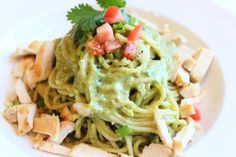 Cilantro Lime sauce over pasta with chicken