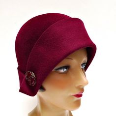 Burgundy Felt Cloche with Vintage Glass Buttons by bonniesknitting, $95.00