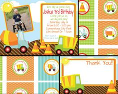 Construction or Dump Truck Birthday Invite with FREE Cupcake Tags, Favor Tags & Thank You - Digital Files      This is a listing for digital files