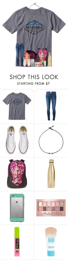 """had to get an ankle brace for track😢"" by shenry2016 ❤ liked on Polyvore featuring Patagonia, Frame, Converse, The North Face, S'well, LifeProof and Maybelline"