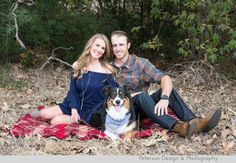 Rustic Holiday Session with couple and Australian Shepherd