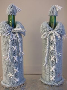 Knitted Blue Snowflake Wine Bottle Cover