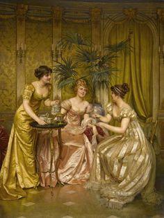 """""""Tea time"""" by Frédéric Soulacroix (1858-1933)."""