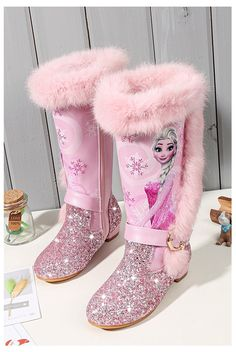 High Heel Boots, Heeled Boots, Shoe Boots, Low Heels, Pink Shoes, Girls Shoes, Frozen Shoes, Frozen Kids, Kids Snow Boots