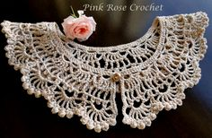 \ PINK ROSE CROCHET /: Gola Diane - #Crochet Collar