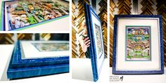 Stacked blue distressed custom made frame by Michael Murphy Gallery. 3-D artist Charles Fazzino. Made for beach condo in Tampa, Florida.