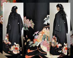 Empress Japanese Kimono Silk Robe, Authentic, Gold Embroidery, Black Caftan