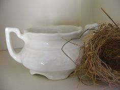 Vintage Creamy White Ironstone USA Creamer by beehindthymemarket, $12.00 ~SOLD~