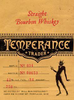 Temperance-Trader-Bourbon-label, Bull Run Distillery, PDX